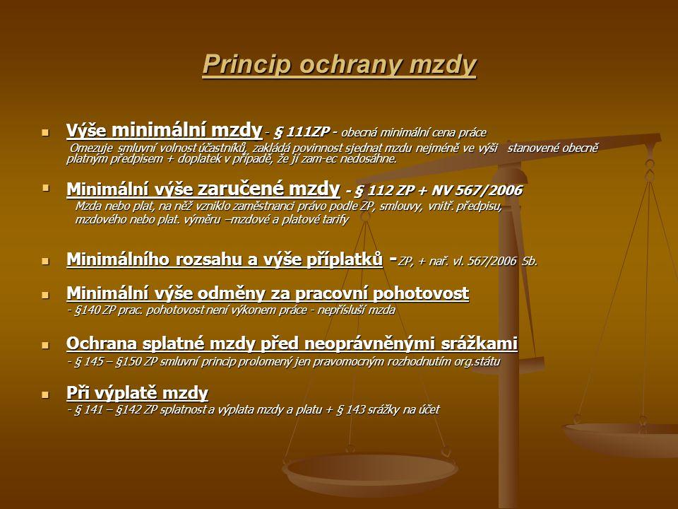 Princip ochrany mzdy Výše minimální mzdy - § 111ZP - obecná minimální cena práce Výše minimální mzdy - § 111ZP - obecná minimální cena práce Omezuje s