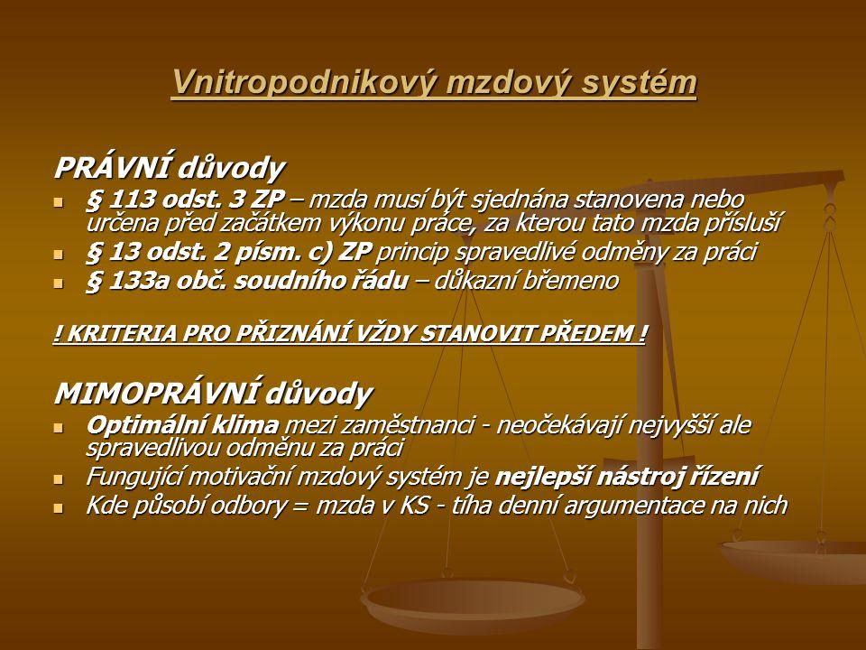 Vnitropodnikový mzdový systém PRÁVNÍ důvody § 113 odst.