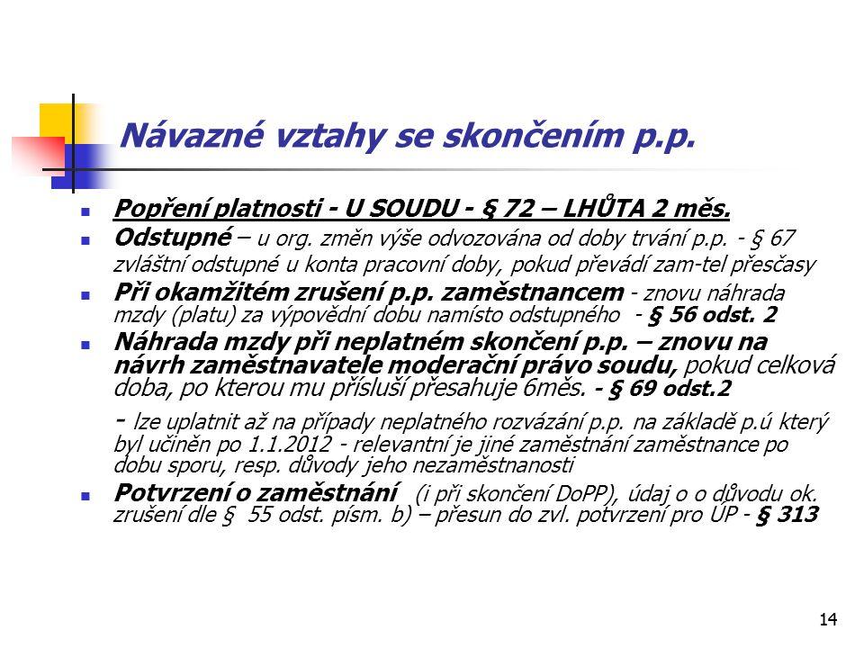 14 Návazné vztahy se skončením p.p. Popření platnosti - U SOUDU - § 72 – LHŮTA 2 měs. Odstupné – u org. změn výše odvozována od doby trvání p.p. - § 6