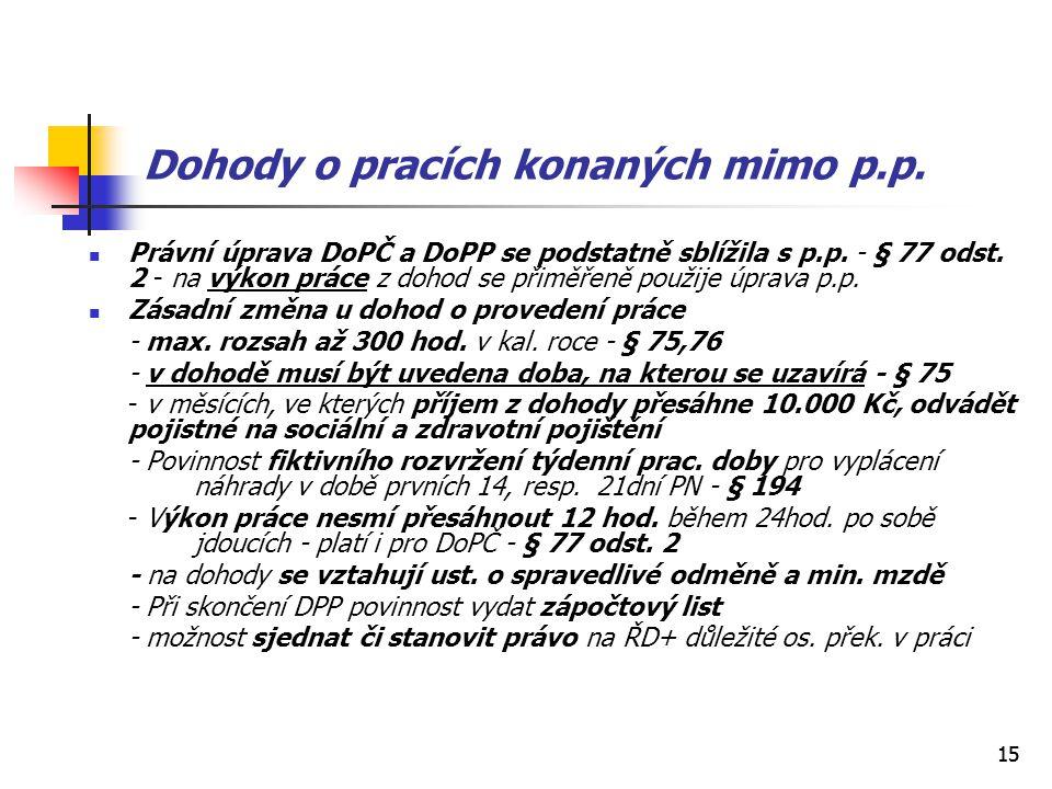 15 Dohody o pracích konaných mimo p.p. Právní úprava DoPČ a DoPP se podstatně sblížila s p.p. - § 77 odst. 2 - na výkon práce z dohod se přiměřeně pou