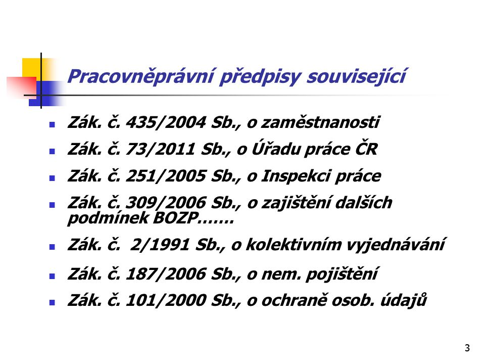 33 Pracovněprávní předpisy související Zák. č. 435/2004 Sb., o zaměstnanosti Zák. č. 73/2011 Sb., o Úřadu práce ČR Zák. č. 251/2005 Sb., o Inspekci pr