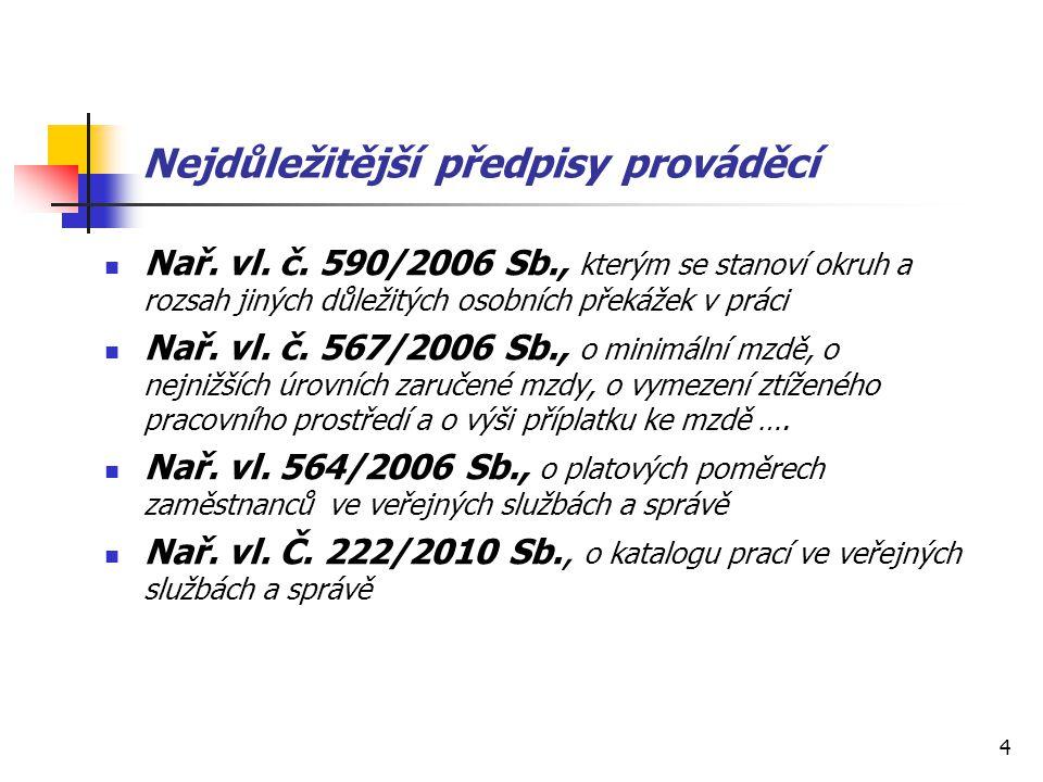 4 Nejdůležitější předpisy prováděcí Nař. vl. č. 590/2006 Sb., kterým se stanoví okruh a rozsah jiných důležitých osobních překážek v práci Nař. vl. č.