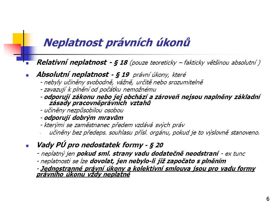 66 Neplatnost právních úkonů Relativní neplatnost - § 18 (pouze teoreticky – fakticky většinou absolutní ) Absolutní neplatnost - § 19 právní úkony, k