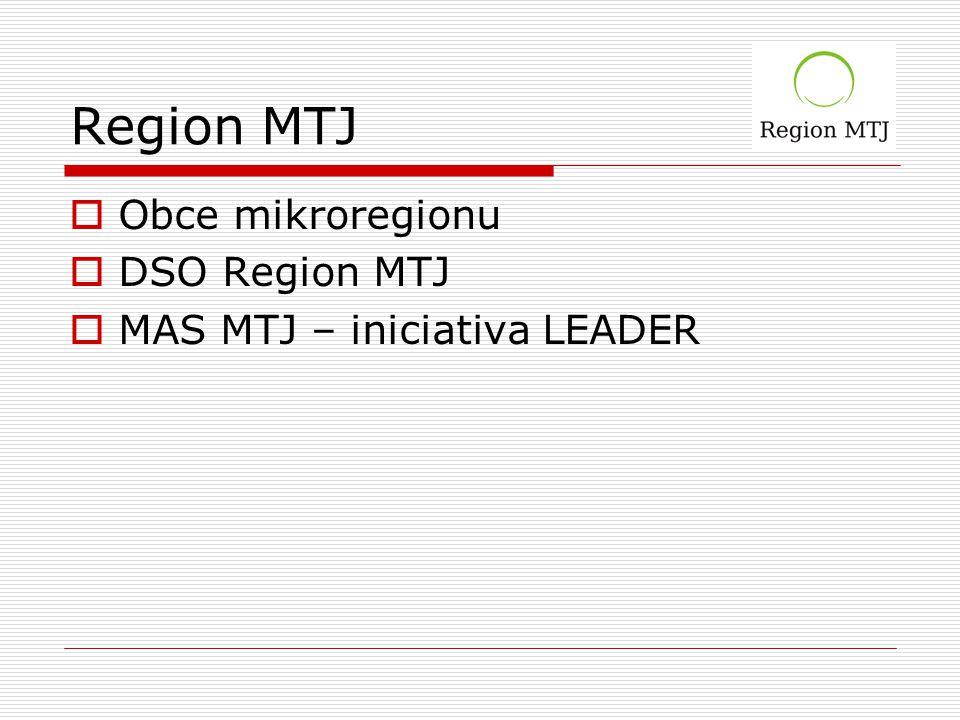Region MTJ  Obce mikroregionu  DSO Region MTJ  MAS MTJ – iniciativa LEADER