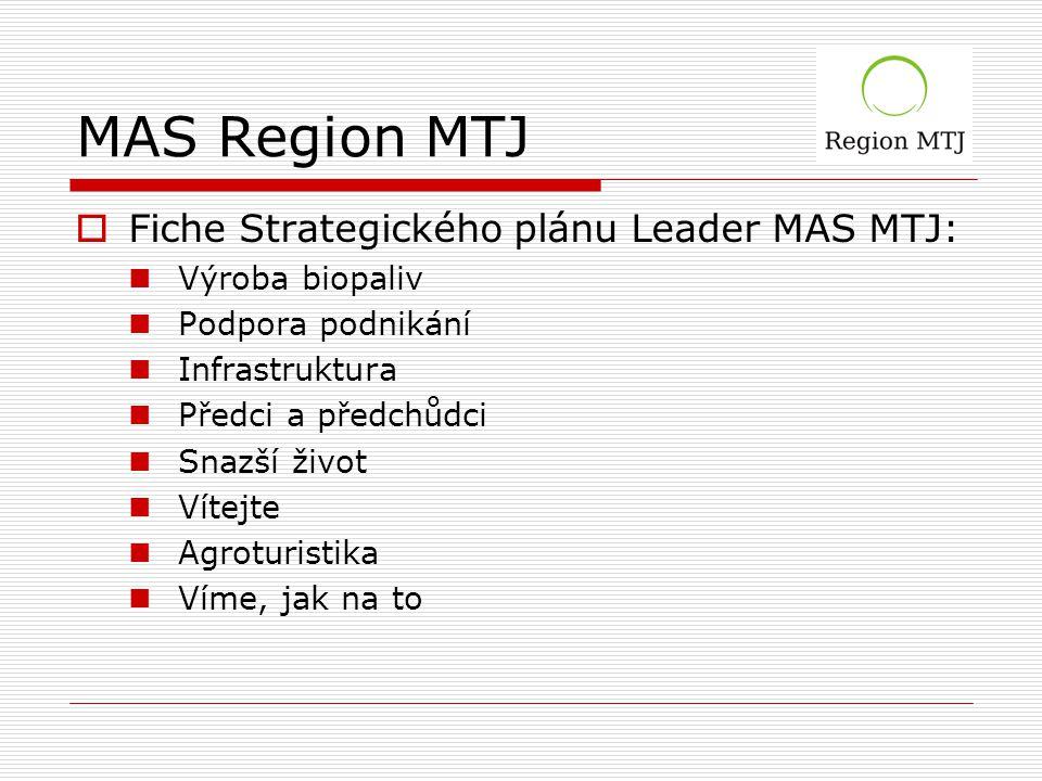 MAS Region MTJ  Fiche Strategického plánu Leader MAS MTJ: Výroba biopaliv Podpora podnikání Infrastruktura Předci a předchůdci Snazší život Vítejte Agroturistika Víme, jak na to