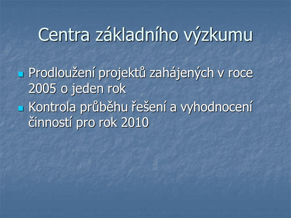 Centra základního výzkumu Prodloužení projektů zahájených v roce 2005 o jeden rok Prodloužení projektů zahájených v roce 2005 o jeden rok Kontrola průběhu řešení a vyhodnocení činností pro rok 2010 Kontrola průběhu řešení a vyhodnocení činností pro rok 2010