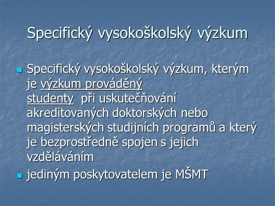 Specifický vysokoškolský výzkum Specifický vysokoškolský výzkum, kterým je výzkum prováděný studenty při uskutečňování akreditovaných doktorských nebo magisterských studijních programů a který je bezprostředně spojen s jejich vzděláváním Specifický vysokoškolský výzkum, kterým je výzkum prováděný studenty při uskutečňování akreditovaných doktorských nebo magisterských studijních programů a který je bezprostředně spojen s jejich vzděláváním jediným poskytovatelem je MŠMT jediným poskytovatelem je MŠMT