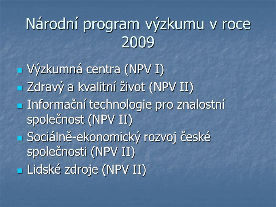 Národní program výzkumu v roce 2009 Výzkumná centra (NPV I) Výzkumná centra (NPV I) Zdravý a kvalitní život (NPV II) Zdravý a kvalitní život (NPV II) Informační technologie pro znalostní společnost (NPV II) Informační technologie pro znalostní společnost (NPV II) Sociálně-ekonomický rozvoj české společnosti (NPV II) Sociálně-ekonomický rozvoj české společnosti (NPV II) Lidské zdroje (NPV II) Lidské zdroje (NPV II)