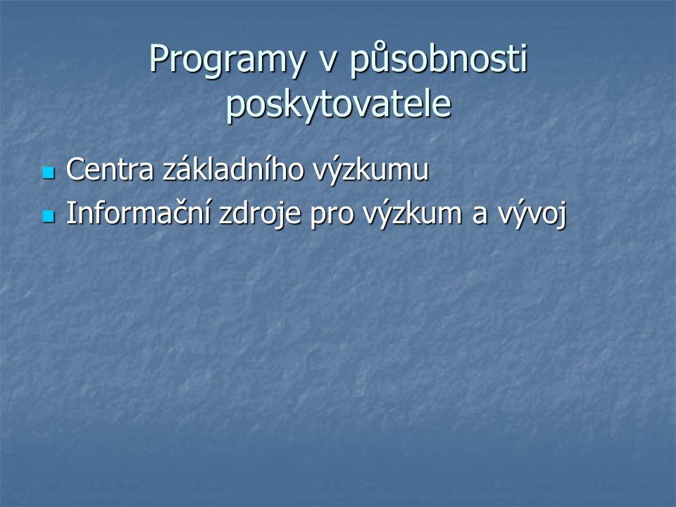 Výzkumné záměry Výzkumné záměry zahájené od 1.ledna 2004 Výzkumné záměry zahájené od 1.