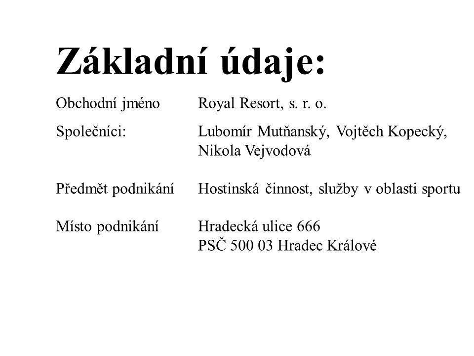 Základní údaje: Obchodní jménoRoyal Resort, s. r. o. Společníci:Lubomír Mutňanský, Vojtěch Kopecký, Nikola Vejvodová Předmět podnikáníHostinská činnos