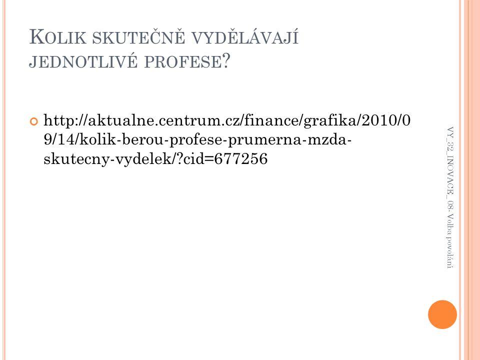 K OLIK SKUTEČNĚ VYDĚLÁVAJÍ JEDNOTLIVÉ PROFESE ? http://aktualne.centrum.cz/finance/grafika/2010/0 9/14/kolik-berou-profese-prumerna-mzda- skutecny-vyd