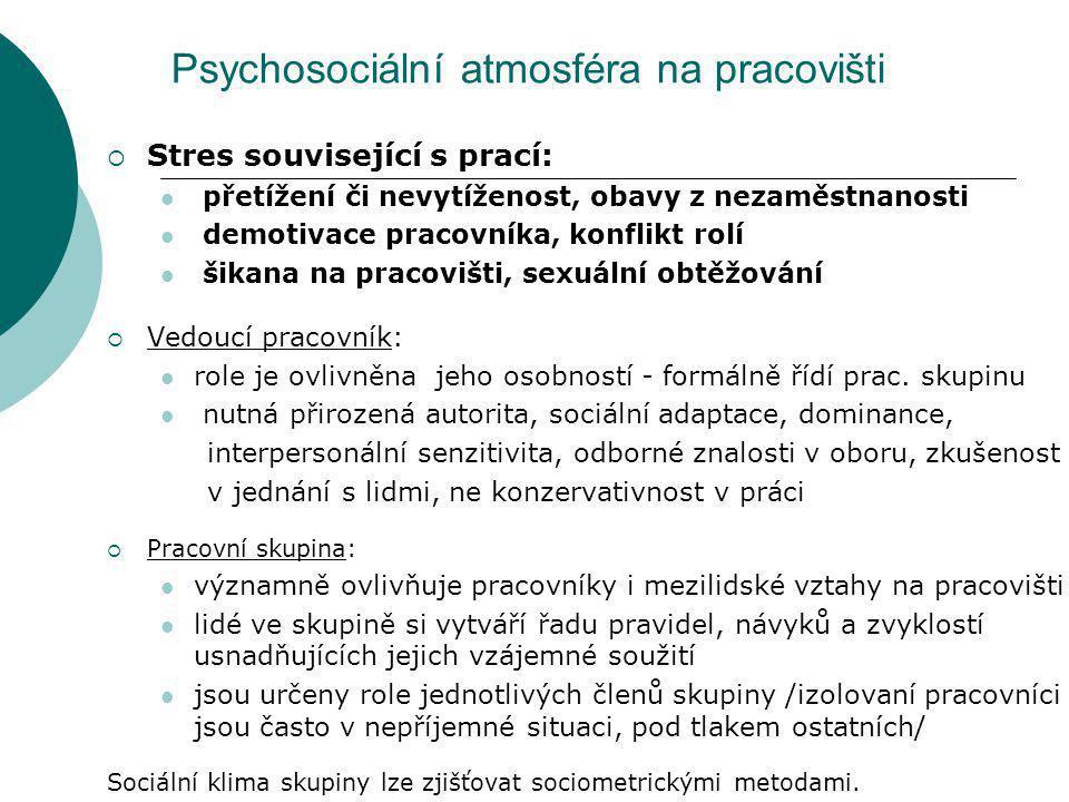 Psychosociální atmosféra na pracovišti  Stres související s prací: přetížení či nevytíženost, obavy z nezaměstnanosti demotivace pracovníka, konflikt