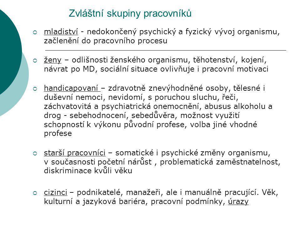 Zvláštní skupiny pracovníků  mladiství - nedokončený psychický a fyzický vývoj organismu, začlenění do pracovního procesu  ženy – odlišnosti ženskéh