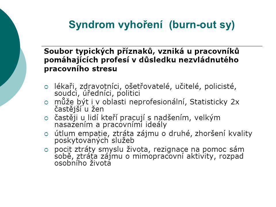 Syndrom vyhoření (burn-out sy) Soubor typických příznaků, vzniká u pracovníků pomáhajících profesí v důsledku nezvládnutého pracovního stresu  lékaři