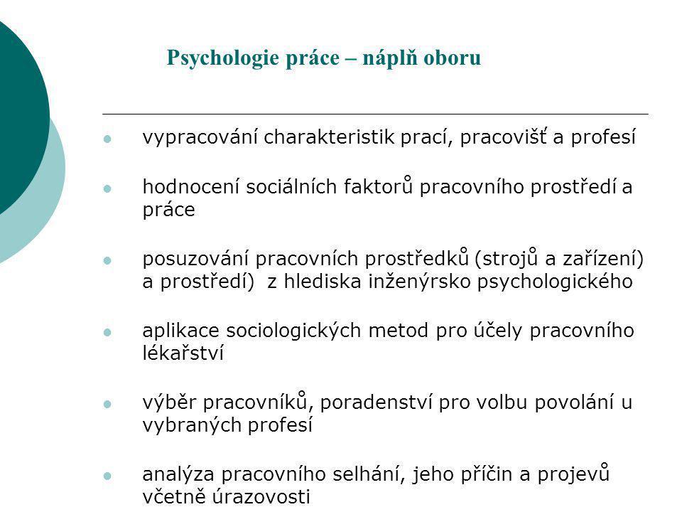 Metody psychologie práce Základem je: pozorování, rozhovor, anamnéza, standardizované dotazníky, stupnice, klasické psychologické testy.