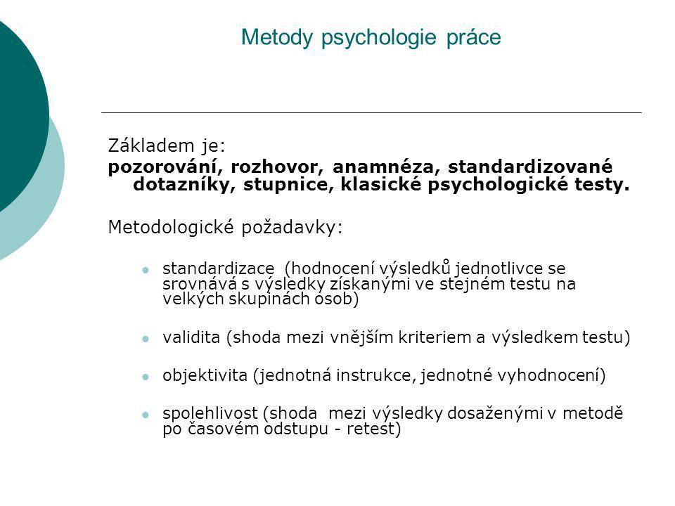 Metody psychologie práce Základem je: pozorování, rozhovor, anamnéza, standardizované dotazníky, stupnice, klasické psychologické testy. Metodologické