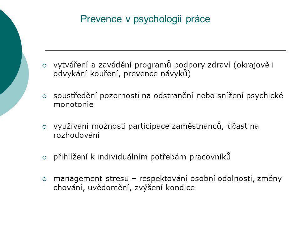 Prevence v psychologii práce  vytváření a zavádění programů podpory zdraví (okrajově i odvykání kouření, prevence návyků)  soustředění pozornosti na