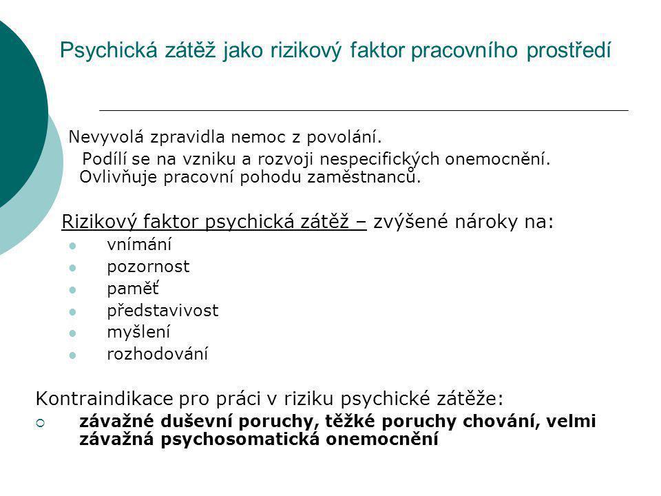 Psychická zátěž jako rizikový faktor pracovního prostředí Nevyvolá zpravidla nemoc z povolání. Podílí se na vzniku a rozvoji nespecifických onemocnění