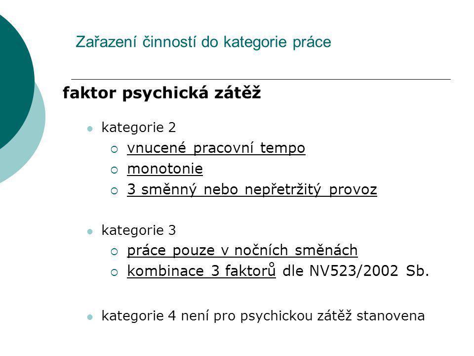Zařazení činností do kategorie práce faktor psychická zátěž kategorie 2  vnucené pracovní tempo  monotonie  3 směnný nebo nepřetržitý provoz katego