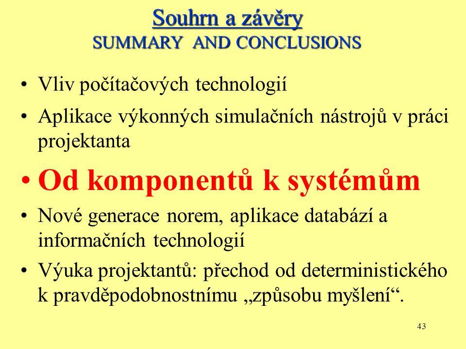 """42 Vliv počítačových technologií Aplikace výkonných simulačních nástrojů v práci projektanta Od komponentů k systémům Nové generace norem, aplikace databází a informačních technologií Výuka projektantů: přechod od deterministického k pravděpodobnostnímu """"způsobu myšlení ."""