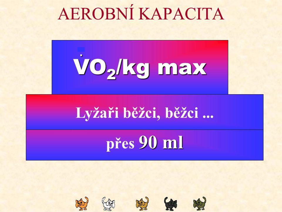 AEROBNÍ KAPACITA VO 2 /kg max. 45 ml Netrénovaní mladí muži - 45 ml 38 ml Netrénované mladé ženy - 38 ml 65 ml Trénovaní mladí muži - 65 ml 58 ml Trén