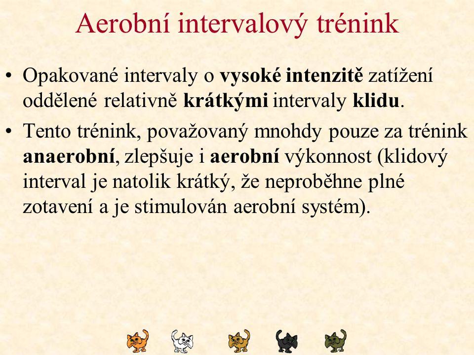 Aerobní intervalový trénink Opakované intervaly o vysoké intenzitě zatížení oddělené relativně krátkými intervaly klidu. Tento trénink, považovaný mno