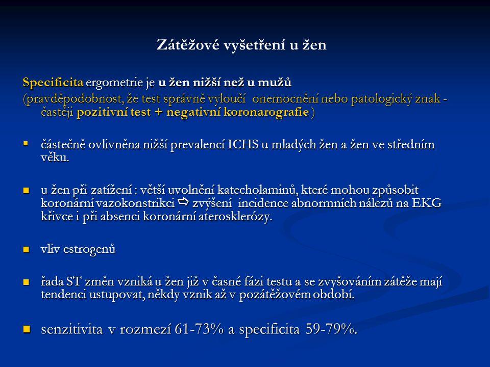 Zátěžové vyšetření u žen Specificita ergometrie je u žen nižší než u mužů (pravděpodobnost, že test správně vyloučí onemocnění nebo patologický znak -