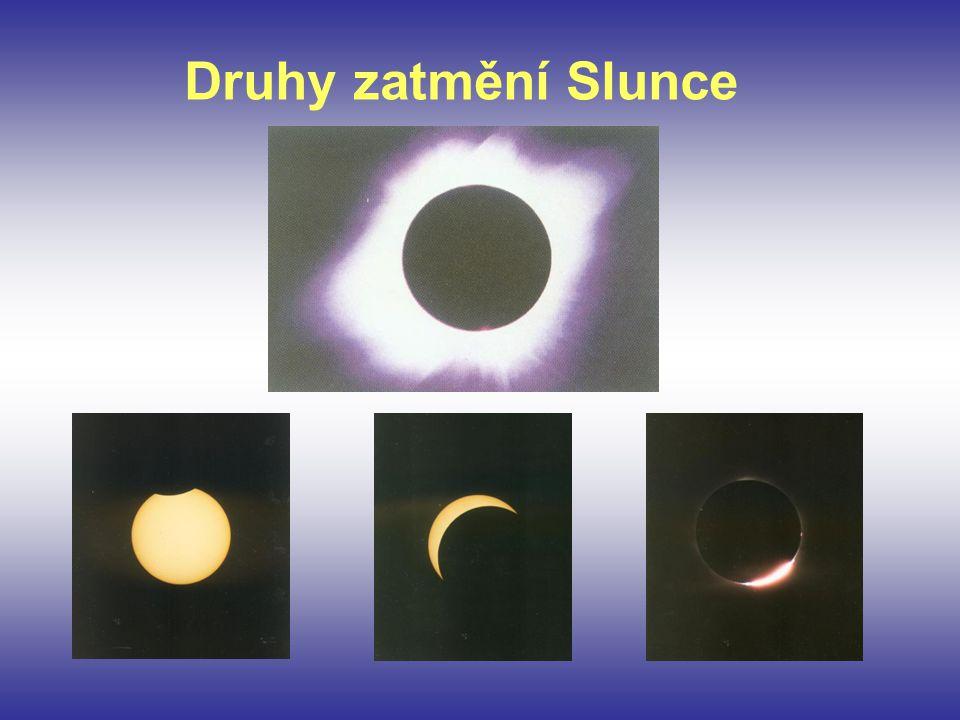 Z předchozích fotografií různých zatmění Slunce je vidět, že přechod měsíčního kotouče přes Slunce má odlišné podoby.