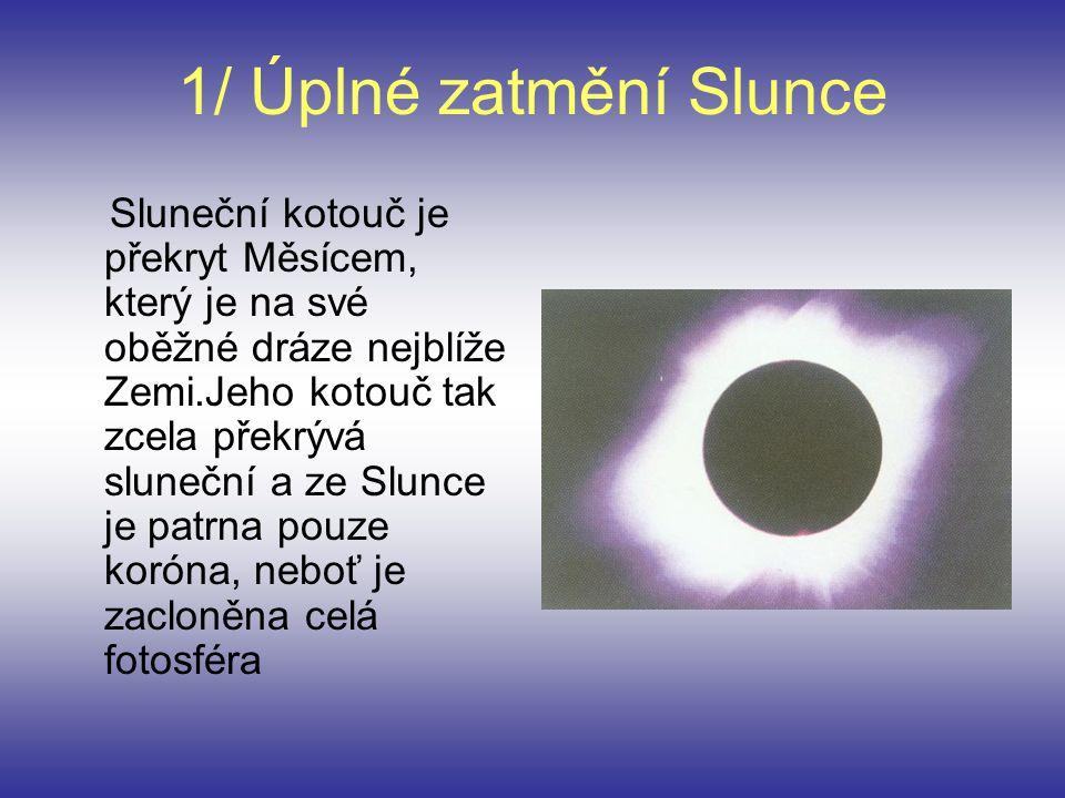 1/ Úplné zatmění Slunce Sluneční kotouč je překryt Měsícem, který je na své oběžné dráze nejblíže Zemi.Jeho kotouč tak zcela překrývá sluneční a ze Sl