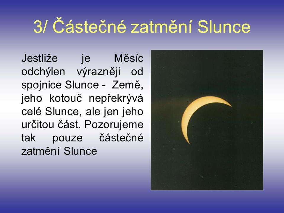 3/ Částečné zatmění Slunce Jestliže je Měsíc odchýlen výrazněji od spojnice Slunce - Země, jeho kotouč nepřekrývá celé Slunce, ale jen jeho určitou čá
