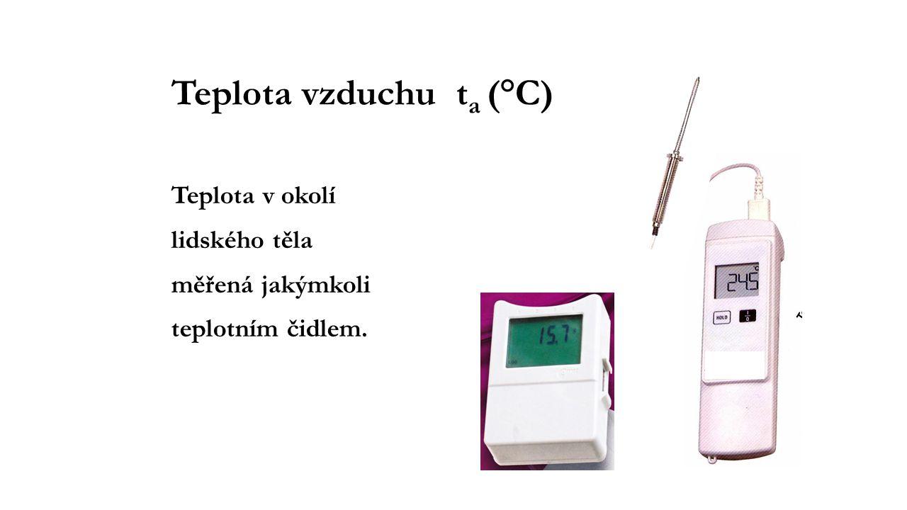 Teplota vzduchu t a (°C) Teplota v okolí lidského těla měřená jakýmkoli teplotním čidlem.