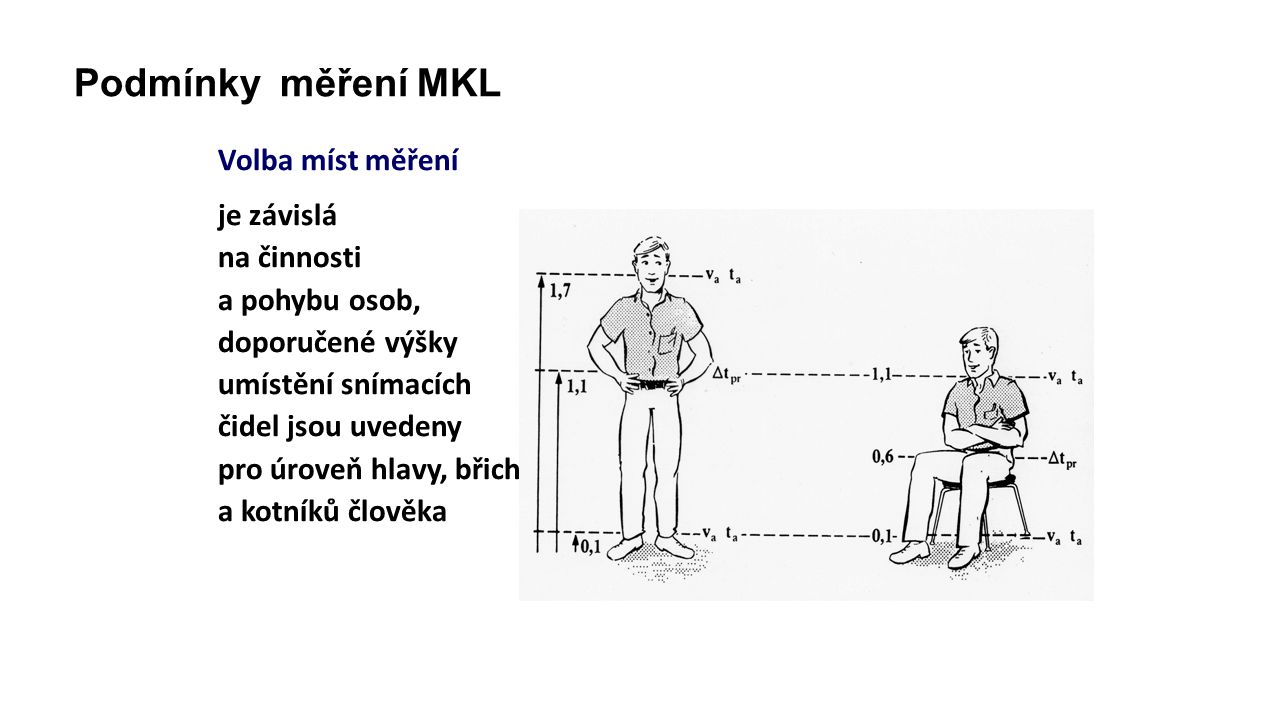 Podmínky měření MKL Volba míst měření je závislá na činnosti a pohybu osob, doporučené výšky umístění snímacích čidel jsou uvedeny pro úroveň hlavy, břicha a kotníků člověka