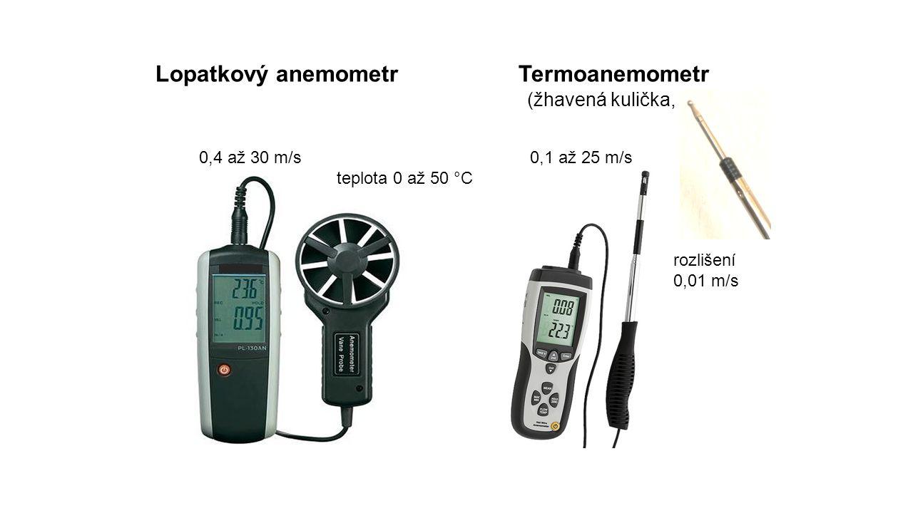 Lopatkový anemometr Termoanemometr (žhavená kulička, vlákno) 0,4 až 30 m/s 0,1 až 25 m/s teplota 0 až 50 °C rozlišení 0,01 m/s