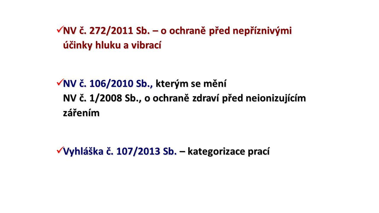 NV č. 272/2011 Sb. – o ochraně před nepříznivými účinky hluku a vibrací NV č. 272/2011 Sb. – o ochraně před nepříznivými účinky hluku a vibrací NV č.