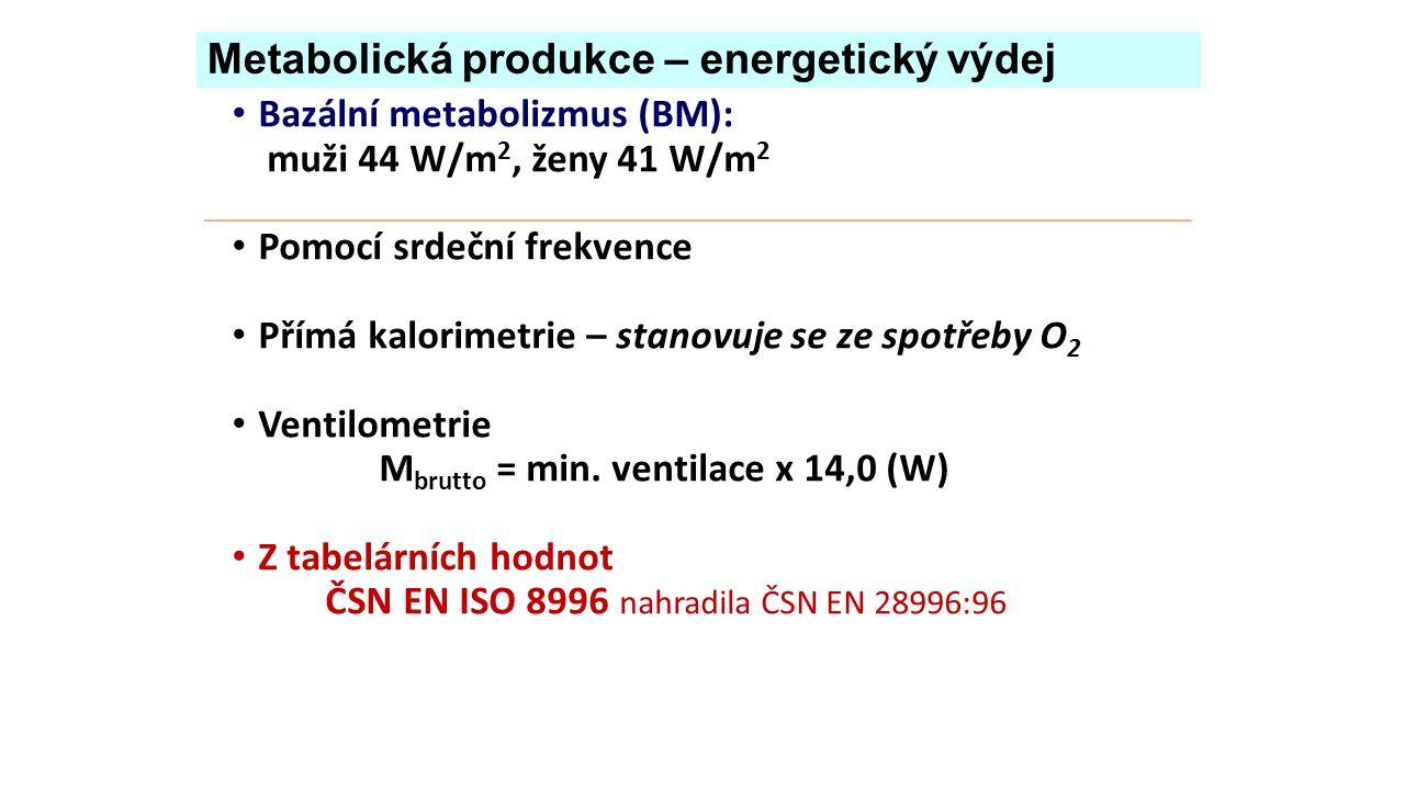 Metabolická produkce – energetický výdej Bazální metabolizmus (BM): muži 44 W/m 2, ženy 41 W/m 2 Pomocí srdeční frekvence Přímá kalorimetrie – stanovuje se ze spotřeby O 2 Ventilometrie M brutto = min.
