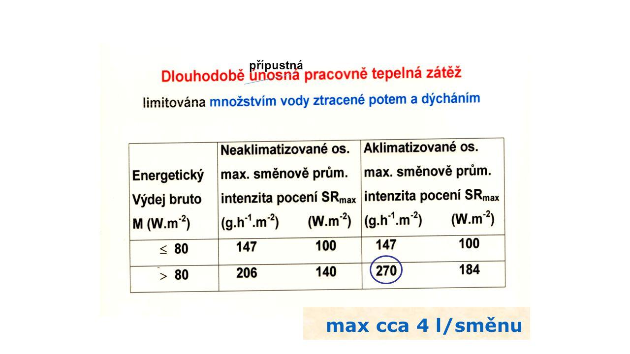 max cca 4 l/směnu přípustná