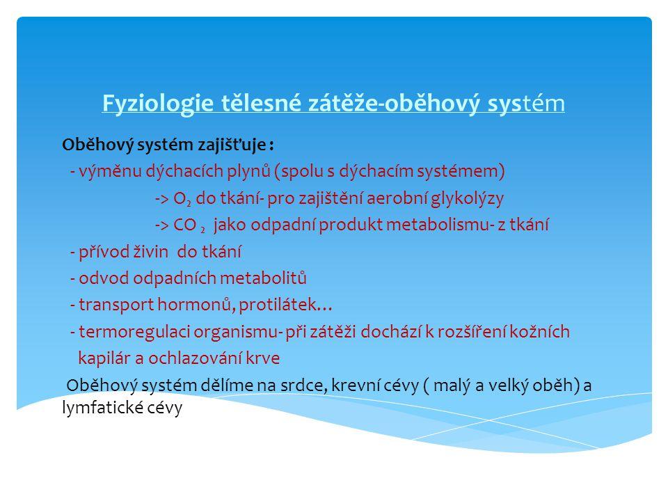 Fyziologie tělesné zátěže-oběhový systém Oběhový systém zajišťuje : - výměnu dýchacích plynů (spolu s dýchacím systémem) -> O₂ do tkání- pro zajištění