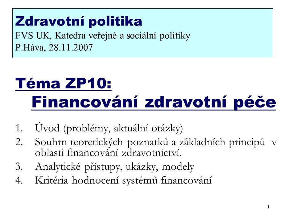 Zdravotní politika FVS UK, Katedra veřejné a sociální politiky P.Háva, 28.11.2007 Téma ZP10: Financování zdravotní péče 1.Úvod (problémy, aktuální otá