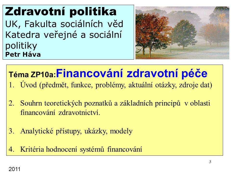 Zdravotní politika UK, Fakulta sociálních věd Katedra veřejné a sociální politiky Petr Háva Téma ZP10a: Financování zdravotní péče 1.Úvod (předmět, fu