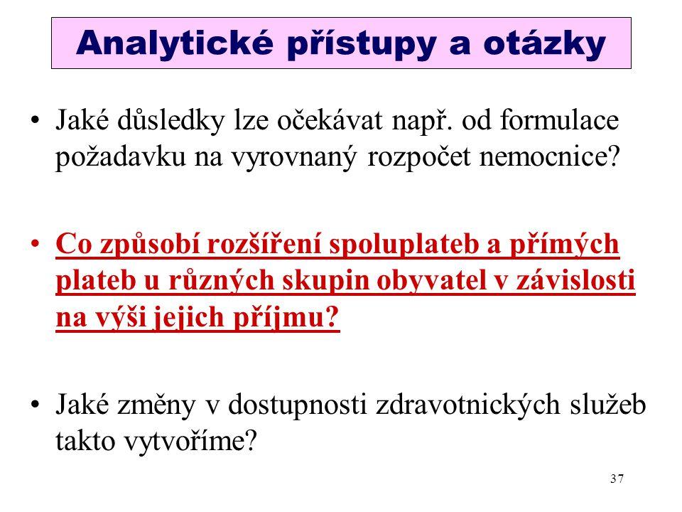 Analytické přístupy a otázky Jaké důsledky lze očekávat např. od formulace požadavku na vyrovnaný rozpočet nemocnice? Co způsobí rozšíření spoluplateb