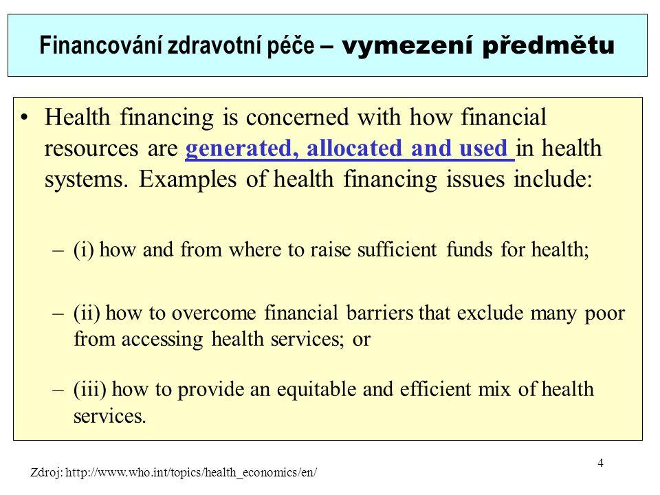 Financování zdravotní péče – vymezení předmětu Health financing is concerned with how financial resources are generated, allocated and used in health