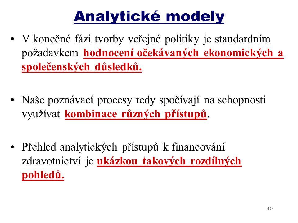 Analytické modely V konečné fázi tvorby veřejné politiky je standardním požadavkem hodnocení očekávaných ekonomických a společenských důsledků. Naše p