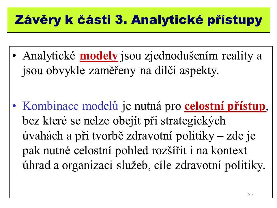Závěry k části 3. Analytické přístupy Analytické modely jsou zjednodušením reality a jsou obvykle zaměřeny na dílčí aspekty. Kombinace modelů je nutná