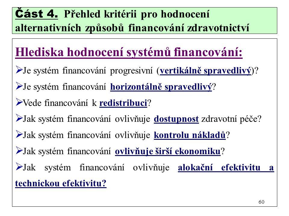Část 4. Přehled kritérii pro hodnocení alternativních způsobů financování zdravotnictví Hlediska hodnocení systémů financování:  Je systém financován