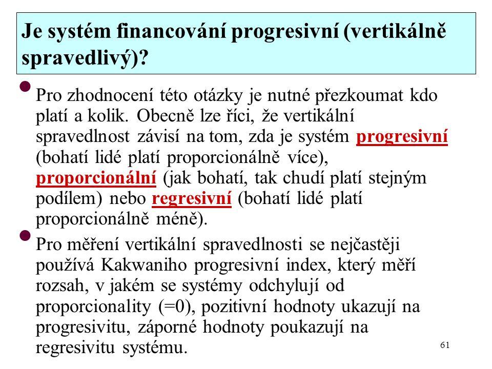 Je systém financování progresivní (vertikálně spravedlivý)? Pro zhodnocení této otázky je nutné přezkoumat kdo platí a kolik. Obecně lze říci, že vert