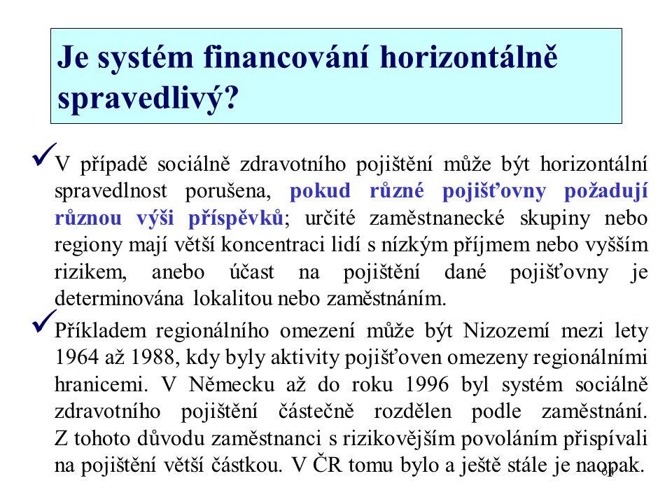 Je systém financování horizontálně spravedlivý? V případě sociálně zdravotního pojištění může být horizontální spravedlnost porušena, pokud různé poji