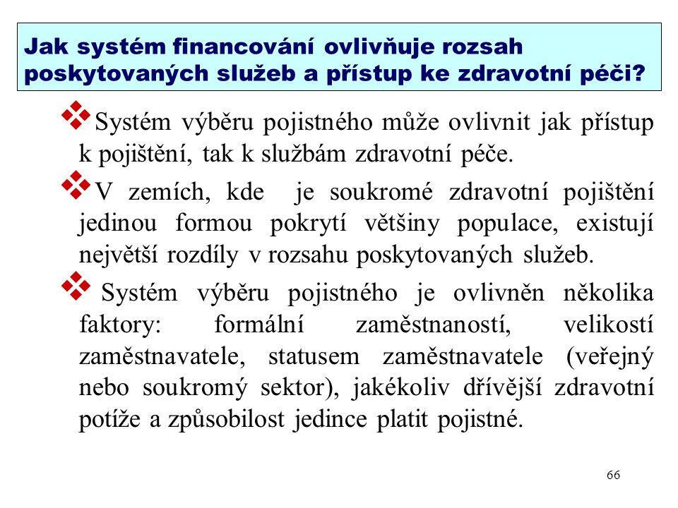 Jak systém financování ovlivňuje rozsah poskytovaných služeb a přístup ke zdravotní péči?  Systém výběru pojistného může ovlivnit jak přístup k pojiš