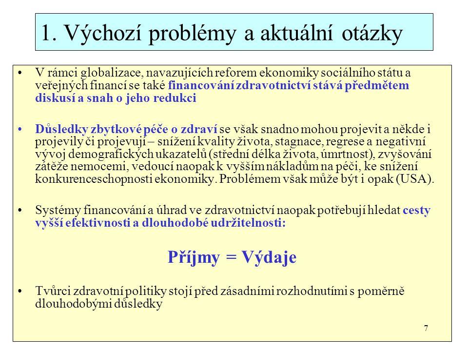 1. Výchozí problémy a aktuální otázky V rámci globalizace, navazujících reforem ekonomiky sociálního státu a veřejných financí se také financování zdr
