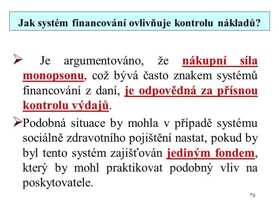 Jak systém financování ovlivňuje kontrolu nákladů?  Je argumentováno, že nákupní síla monopsonu, což bývá často znakem systémů financování z daní, je