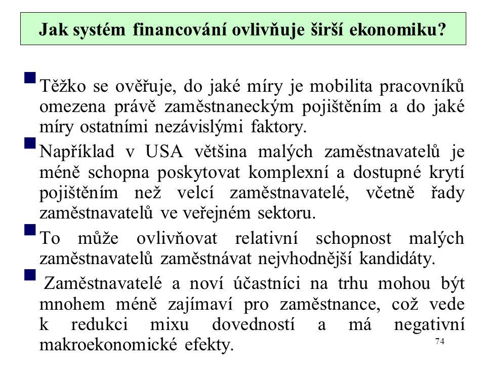 Jak systém financování ovlivňuje širší ekonomiku?  Těžko se ověřuje, do jaké míry je mobilita pracovníků omezena právě zaměstnaneckým pojištěním a do